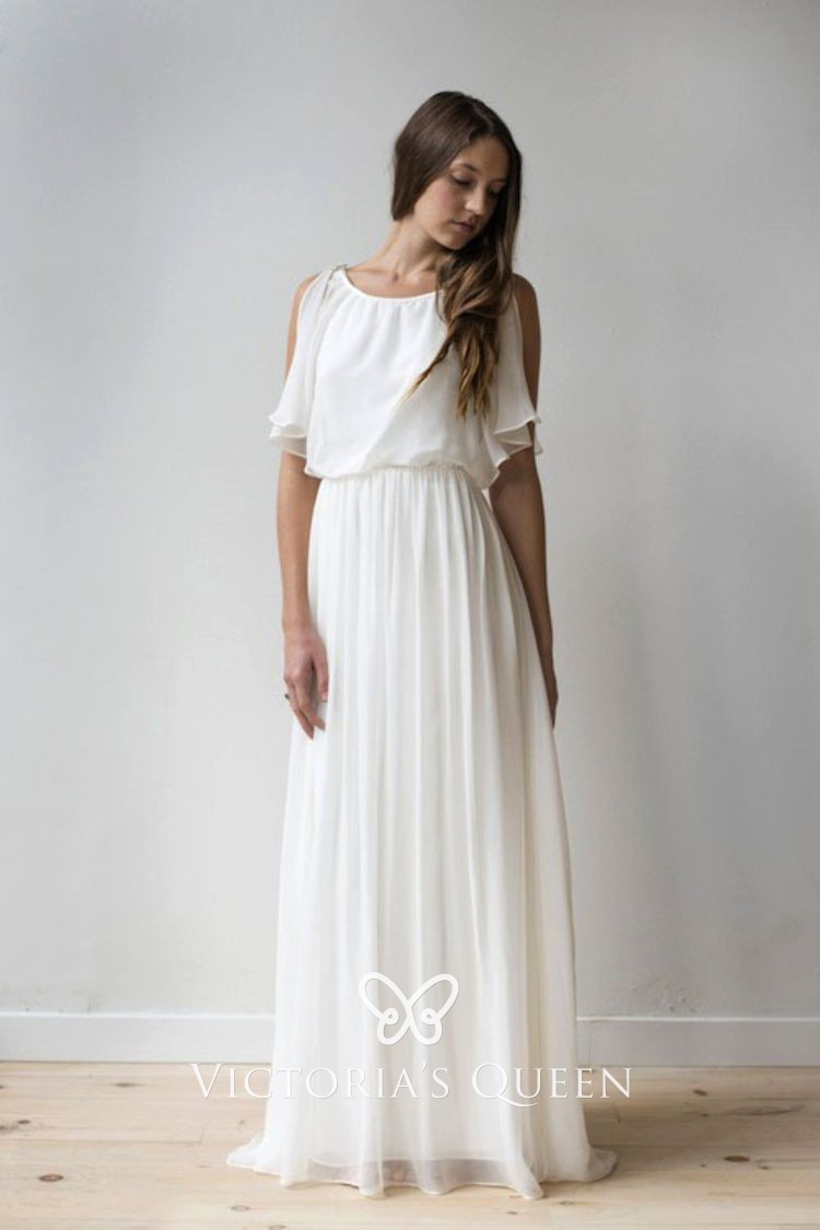 Ruffled Top Ivory Flowy Chiffon Boho Long Wedding Dress