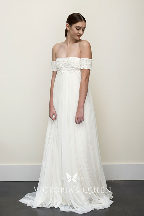 f9c1ea952 Sexy low off the shoulder tulle empire waist A line sweep train wedding  dress