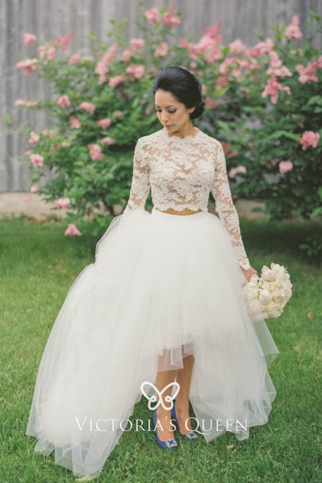 High Low Wedding Dresses.Vintage Ivory Lace And Tulle Two Piece Long Sleeve High Low Wedding Gown
