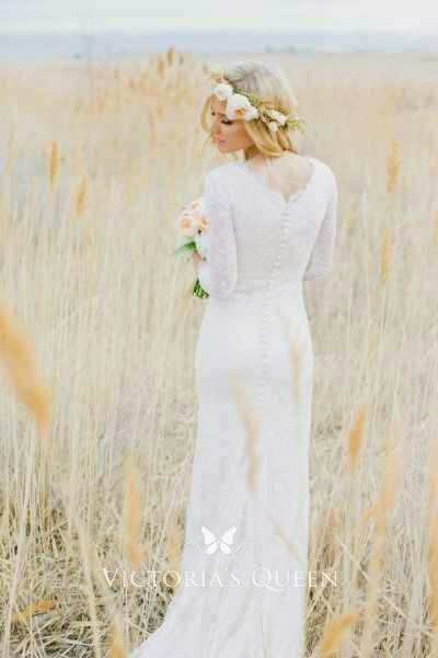 Long Sleeve Lace Scalloped Neck Rustic Wedding Dress