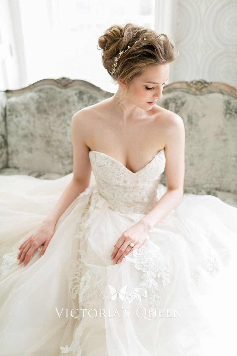 Spring Wedding Dresses.Romantic Blush Tulle And Lace Strapless Sweetheart Spring Wedding Dress