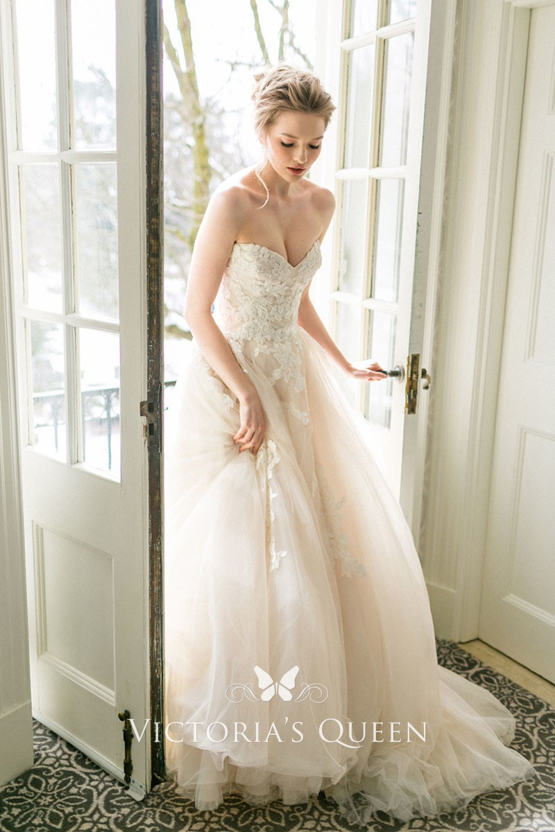 Romantic Blush Tulle And Lace Spring Wedding Dress