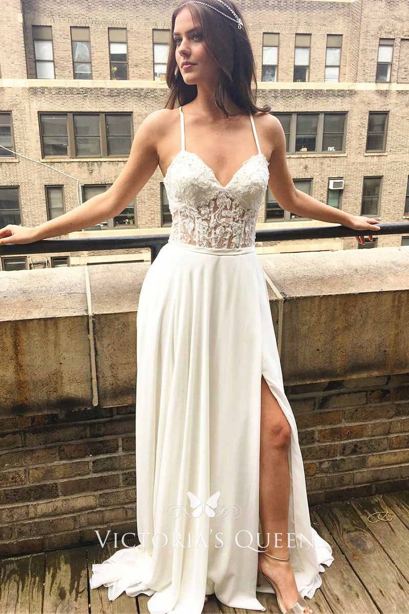 Champagne Wedding Dress with Slit