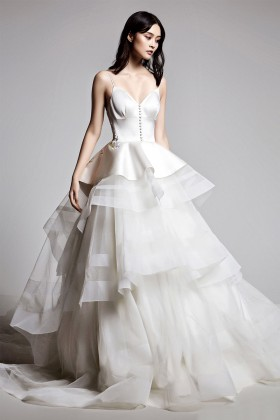 f94824f014cd peplum and buttons ivory satin and tulle tiered extravagant wedding ball  gown