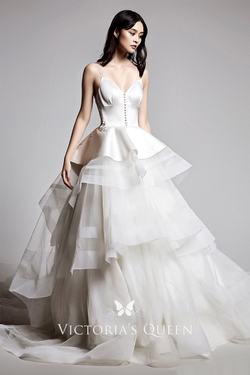 peplum and buttons satin tulle tiered wedding ball gown