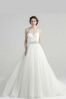 60d1012332f ivory tulle strapless sweetheart princess beaded long ball gown wedding  dress
