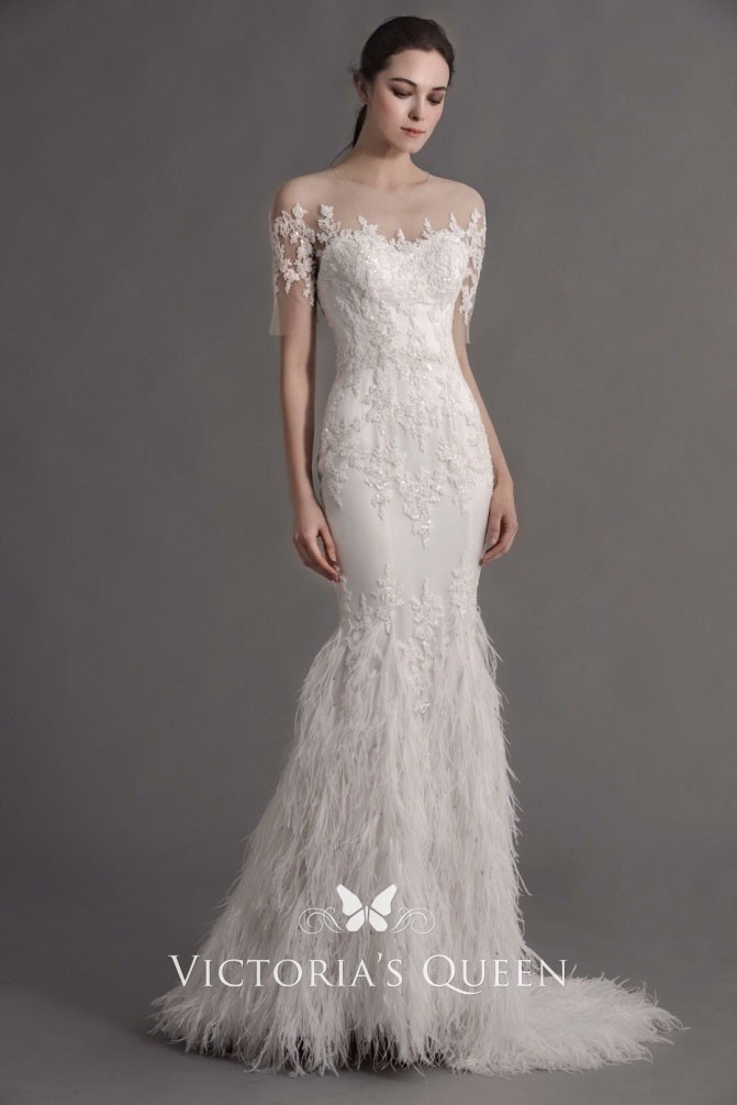 Gorgeous Wedding Dress With Illusion Lace Short Sleeves