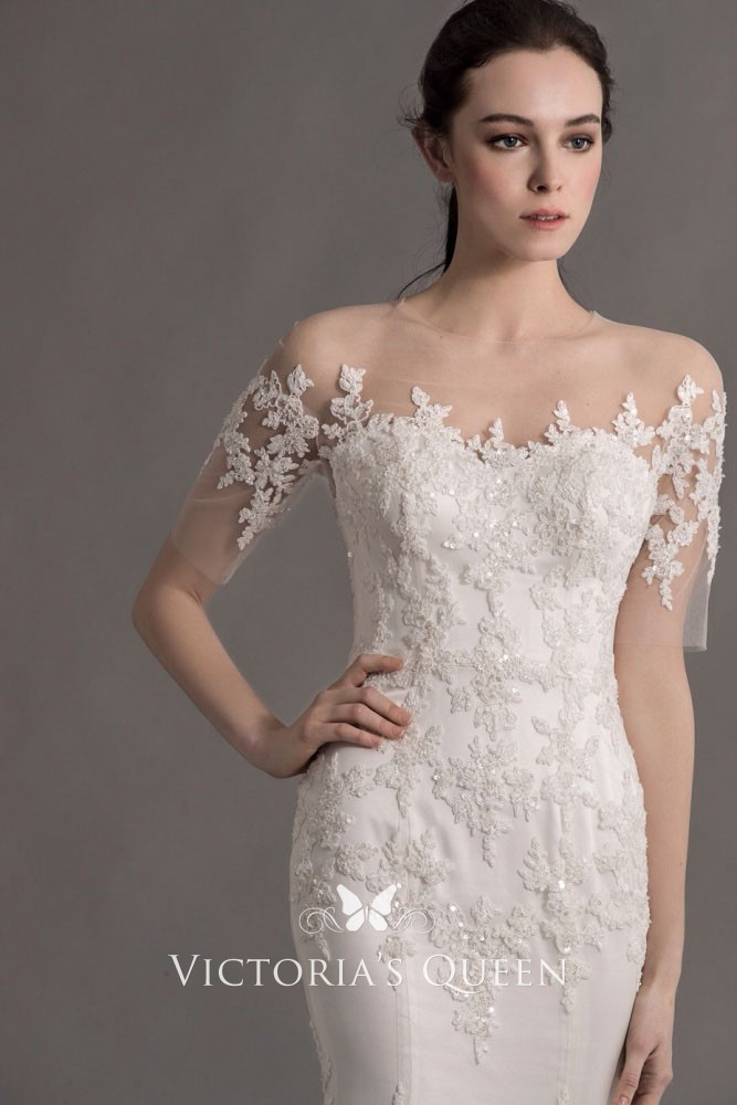 b68592be7c0c wedding dress with illusion lace short sleeves mermaid feather skirt