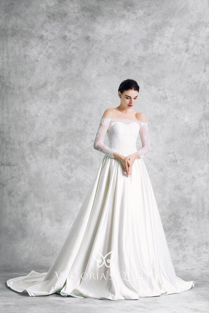 Ivory Lace And Satin Off The Shoulder Sweetheart Illusion Long