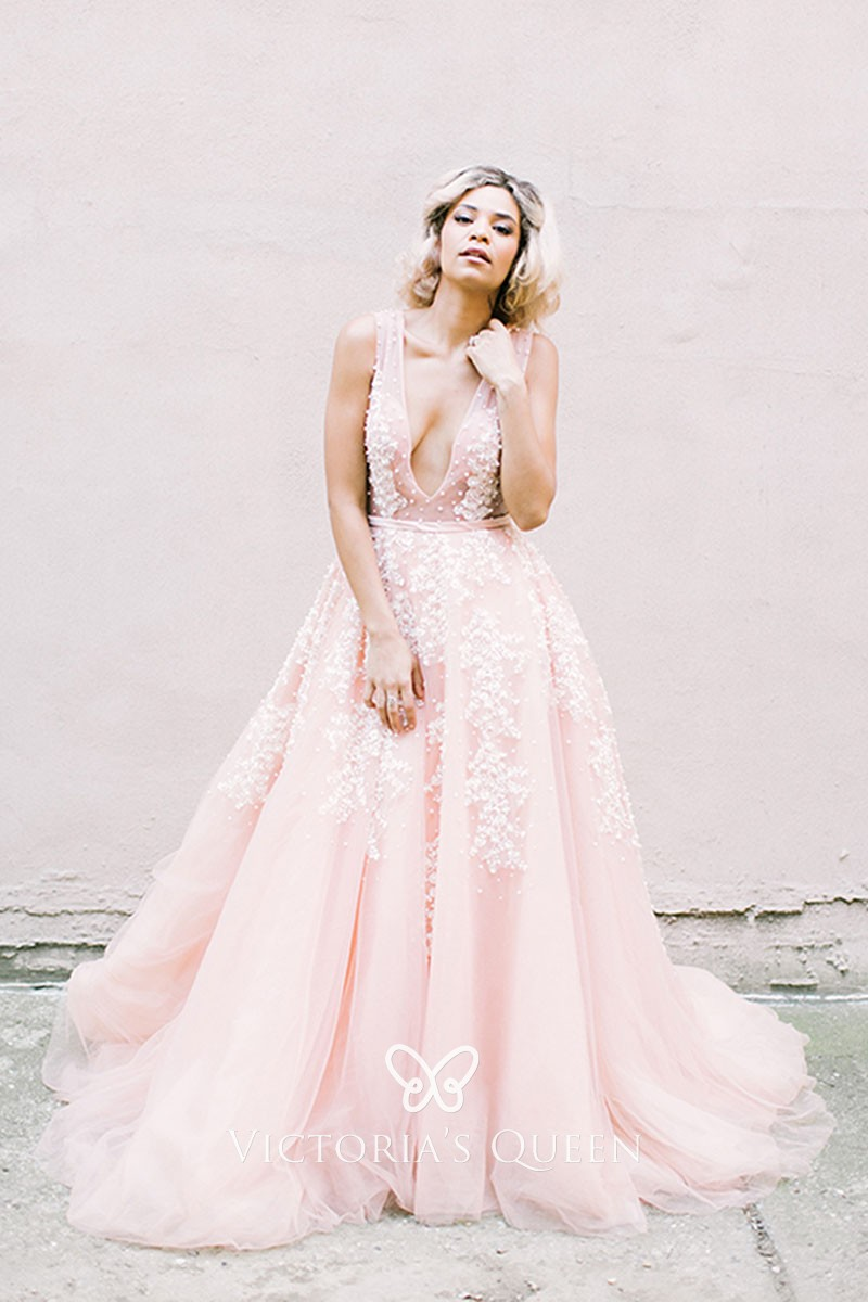 Exquisite Pearls Lace Pink Tulle Plunging Wedding Dress