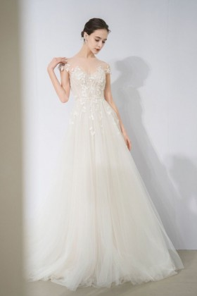 ca06c277f floral appliques romantic illusion cap sleeve ivory tulle full length wedding  dress