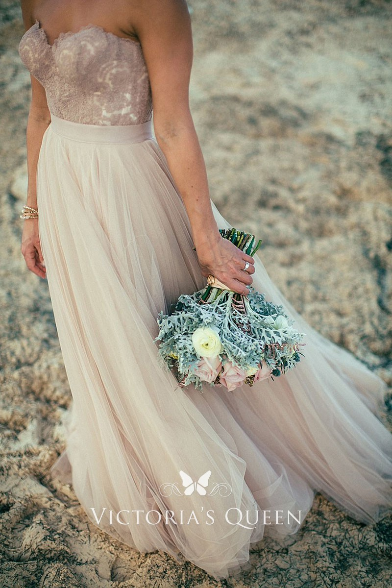 Informal Rustic Blush Tulle And Lace Long Wedding Dress Vq,Casual Simple Beach Wedding Dresses