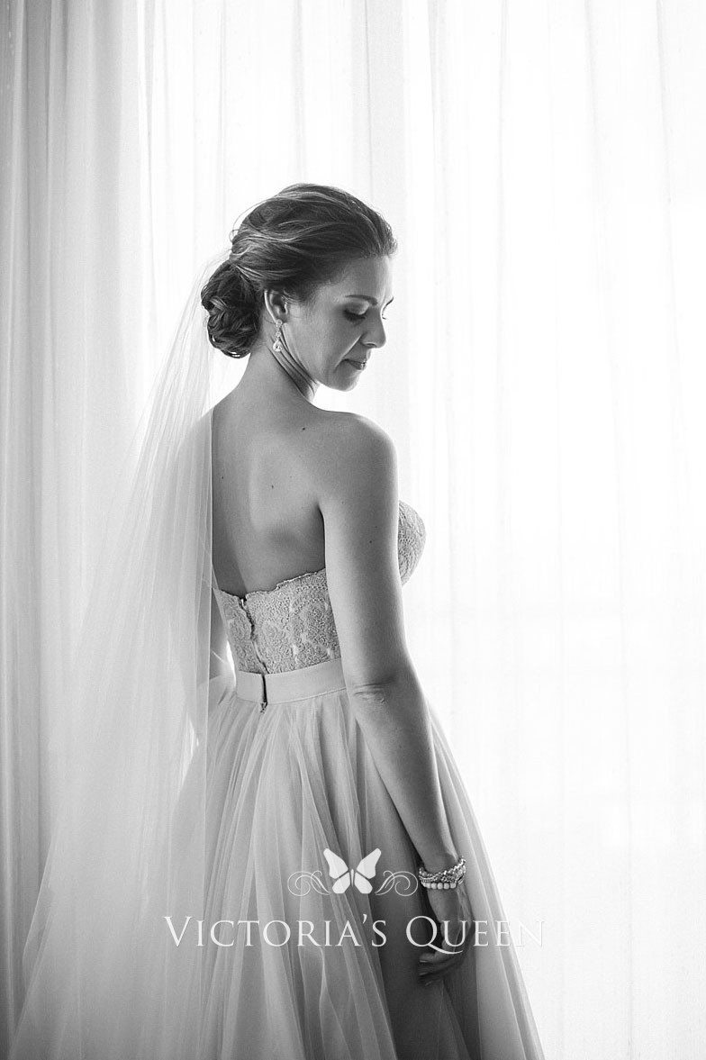Informal Rustic Blush Tulle And Lace Long Wedding Dress