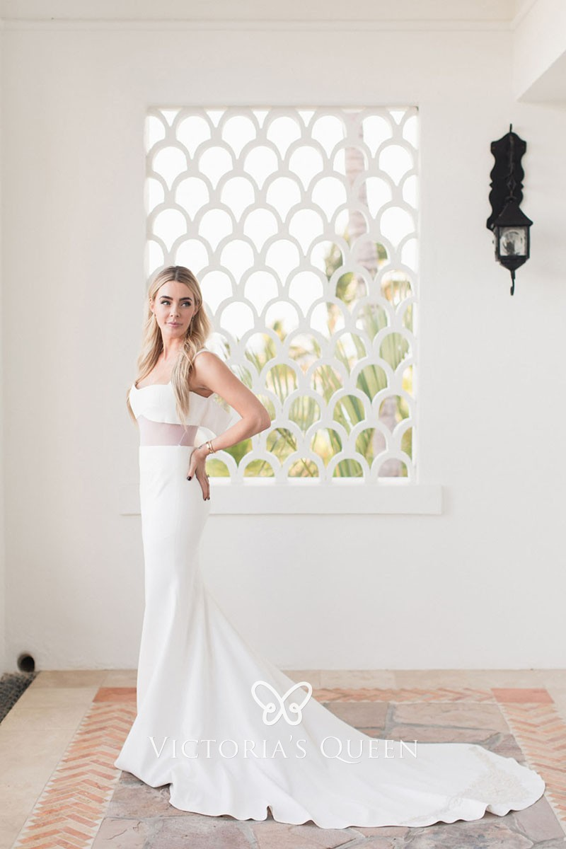 Sexy Ivory Satin Two Piece Long Fit And Flare Beach Wedding Dress