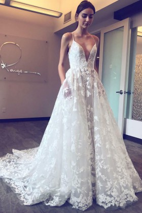ede0ffbefe341 floral lace appliques sexy plunging V neckline spaghetti straps white  wedding dress