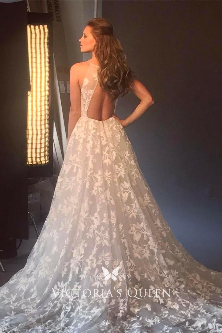 Floral Lace Appliques Sexy Plunging White Wedding Dress Vq
