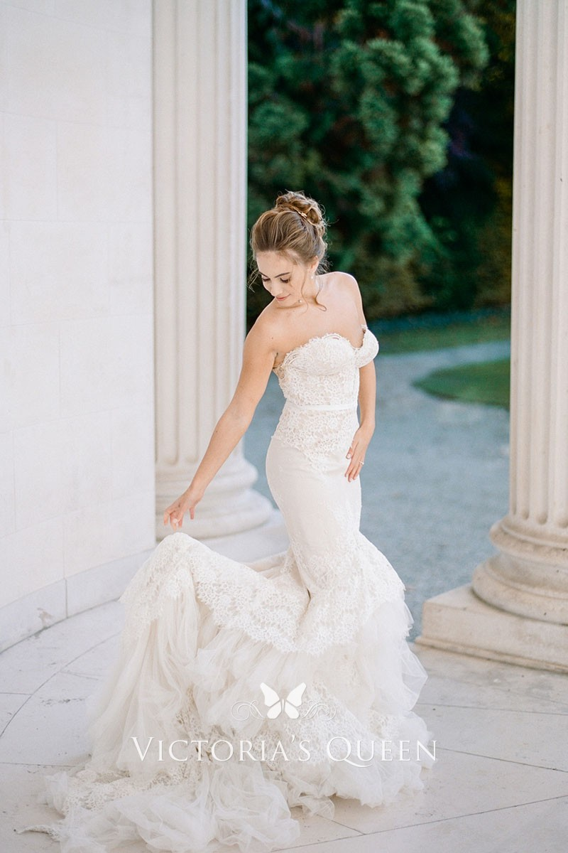 2b3d898247758 Pearls Strapless Sweetheart Ivory Lace Dropped Waist Mermaid Wedding ...