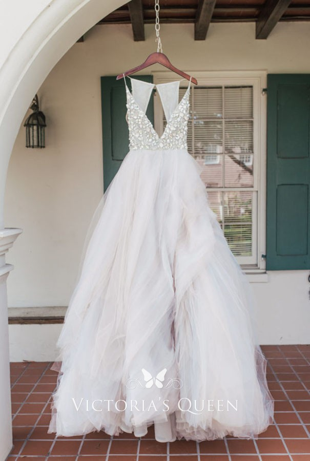 fa0109eb2910f9 crystals plunging blush tulle ball gown wedding dress. dazzling crystals  plunging bodice sleeveless ...