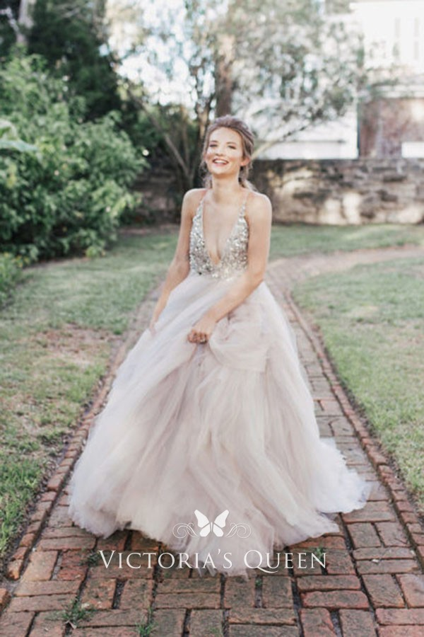 fbe1955720cf27 dazzling crystals sleeveless blush tulle ball gown wedding dress. dazzling crystals  plunging bodice sleeveless ...