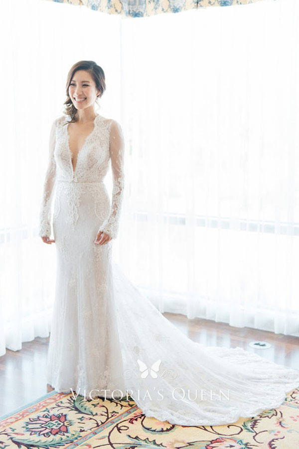 Plunging V Neck Long Sleeve White Lace Wedding Dress