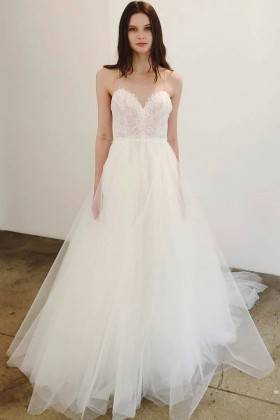 ef8b1a63de3ad romantic white lace and tulle wedding dress with feminine spaghetti straps