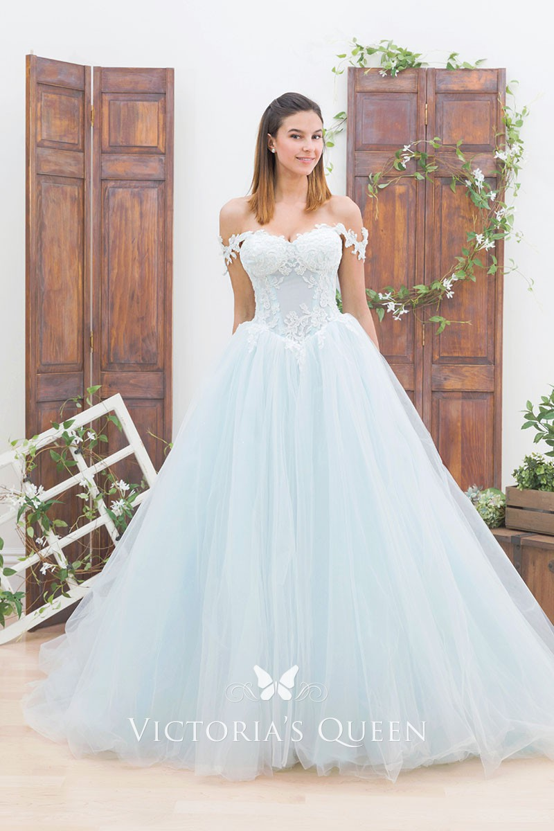 Tulle Off-shoulder Wedding Ball Gown