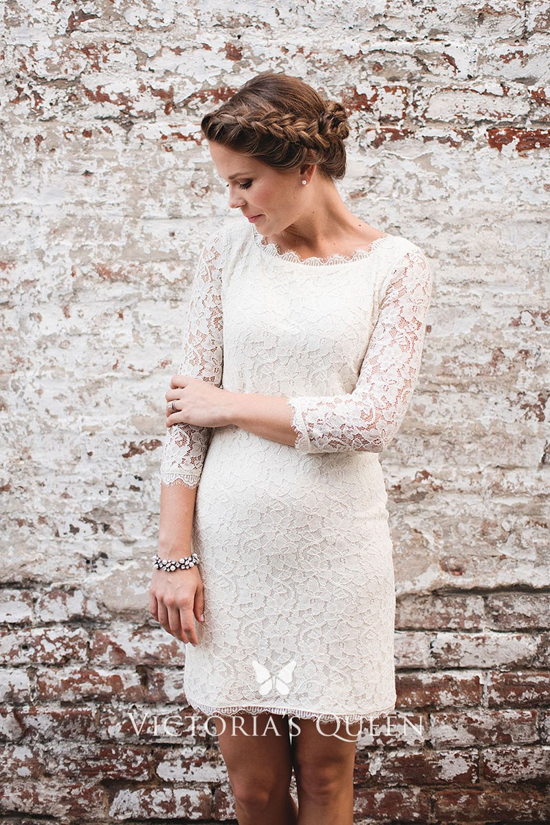 Lace Vintage Wedding Dress.Short White Lace Scalloped Boat Neckline 3 4 Sleeve Vintage Wedding Dress