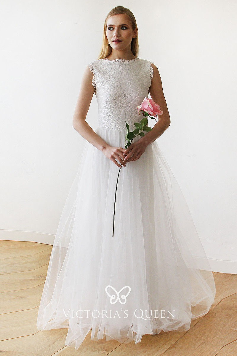 ee28ec1d4d8415 vintage inspired bateau neckline sleeveless scalloped lace and tulle  wedding dress