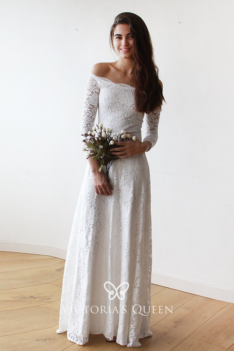 Off,white Lace Off,shoulder Long Sleeve Wedding Dress