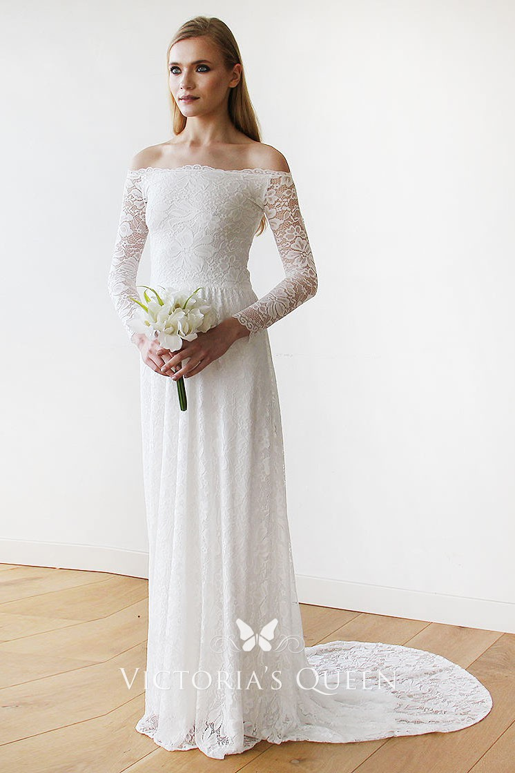 Off The Shoulder White Lace Long Sleeve Wedding Dress