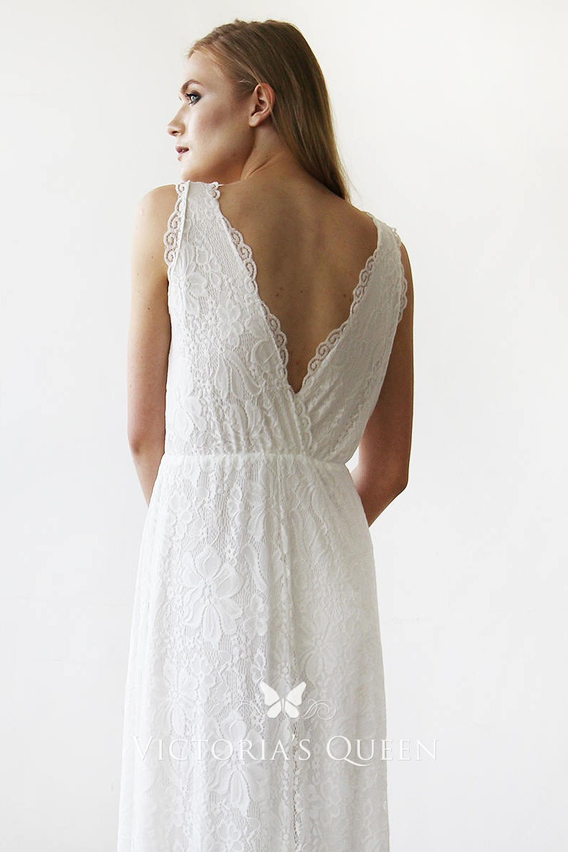 Scalloped Simple Floor Length White Lace Wedding Dress