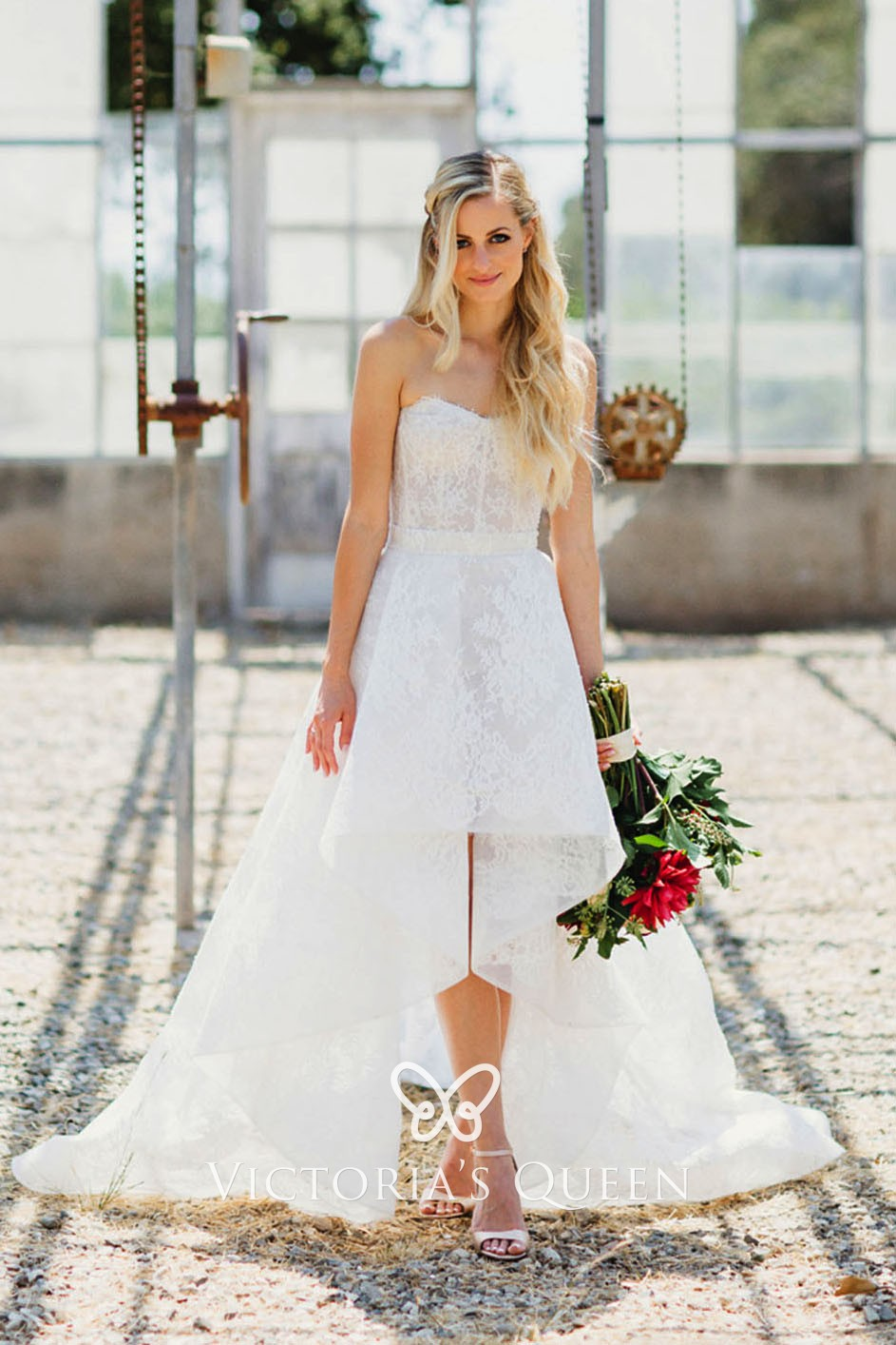 Illusion Lace and Tulle High-low Outdoor Wedding Dress