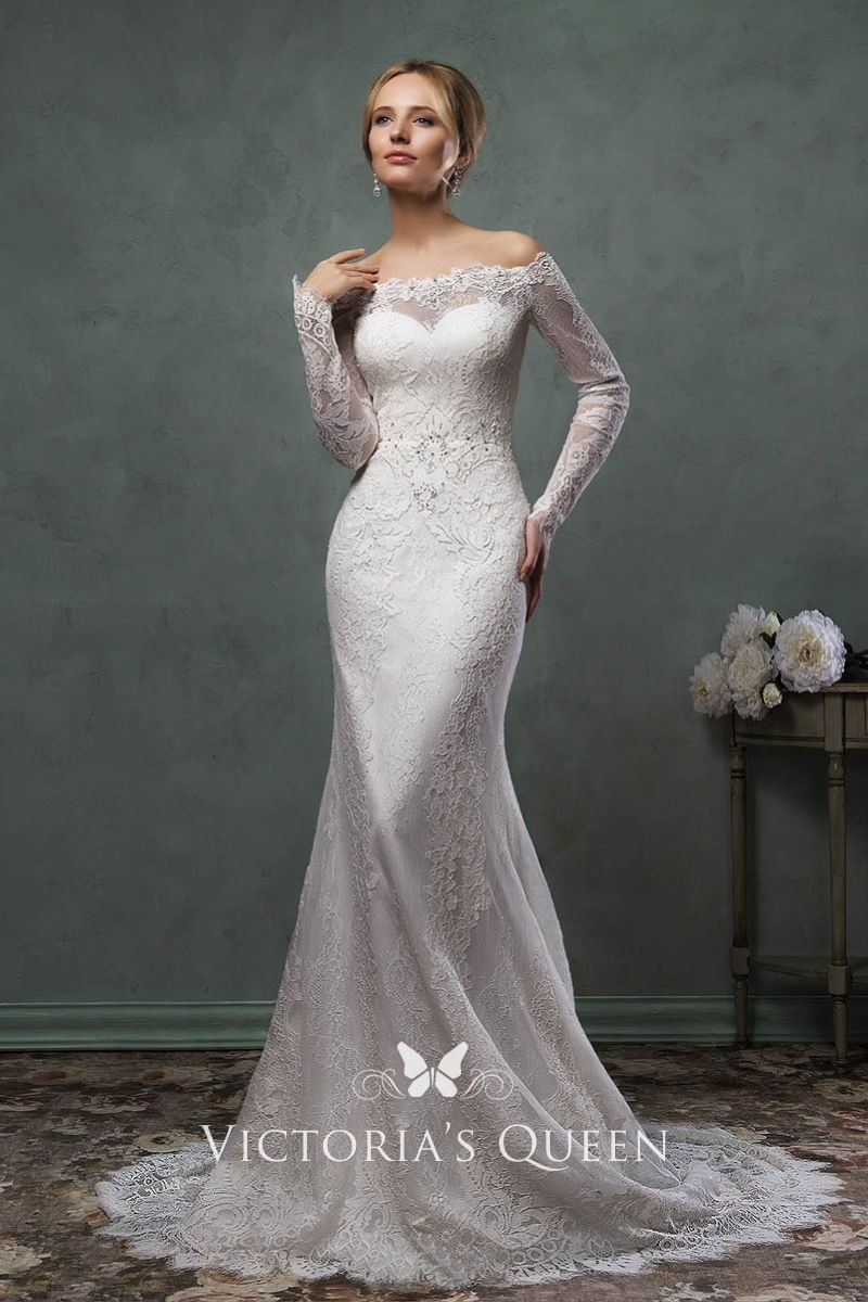 278919f2bb6d Elegant mermaid lace wedding dress with illusion off the shoulder long  sleeves