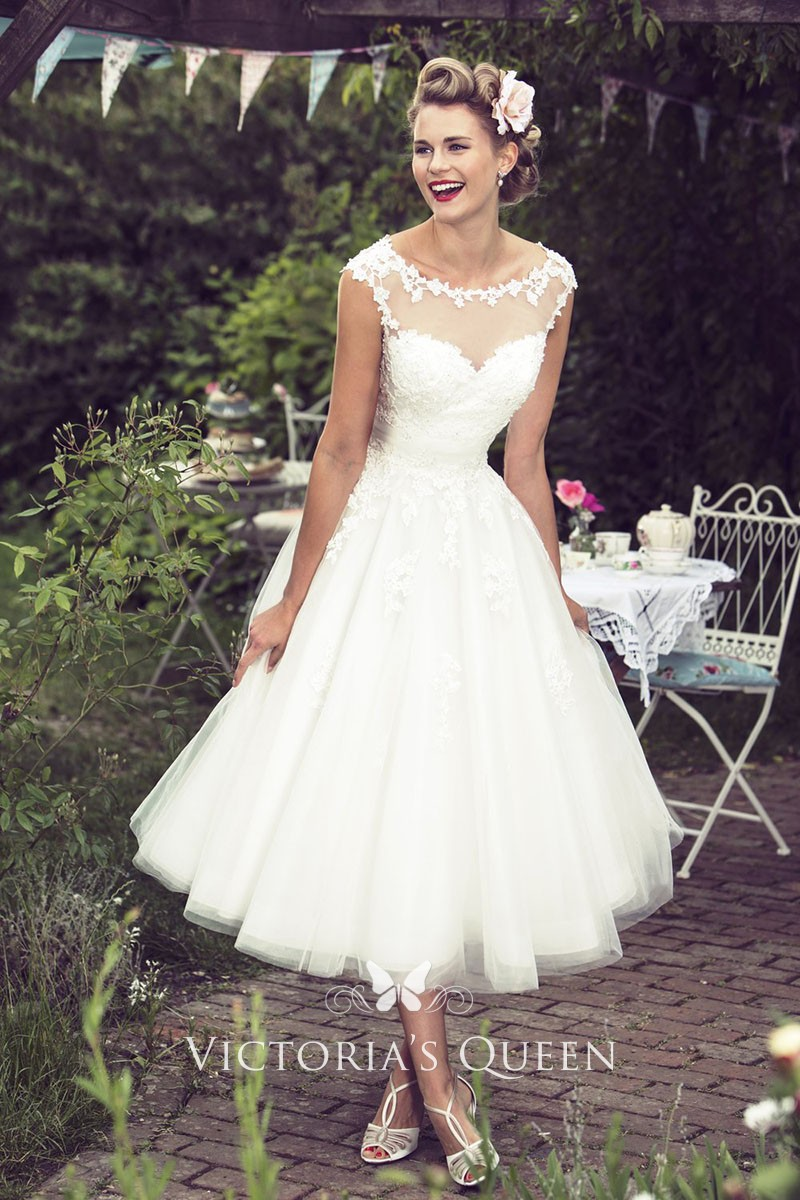 Tea Length Cap Sleeve Rustic Country Wedding Dress