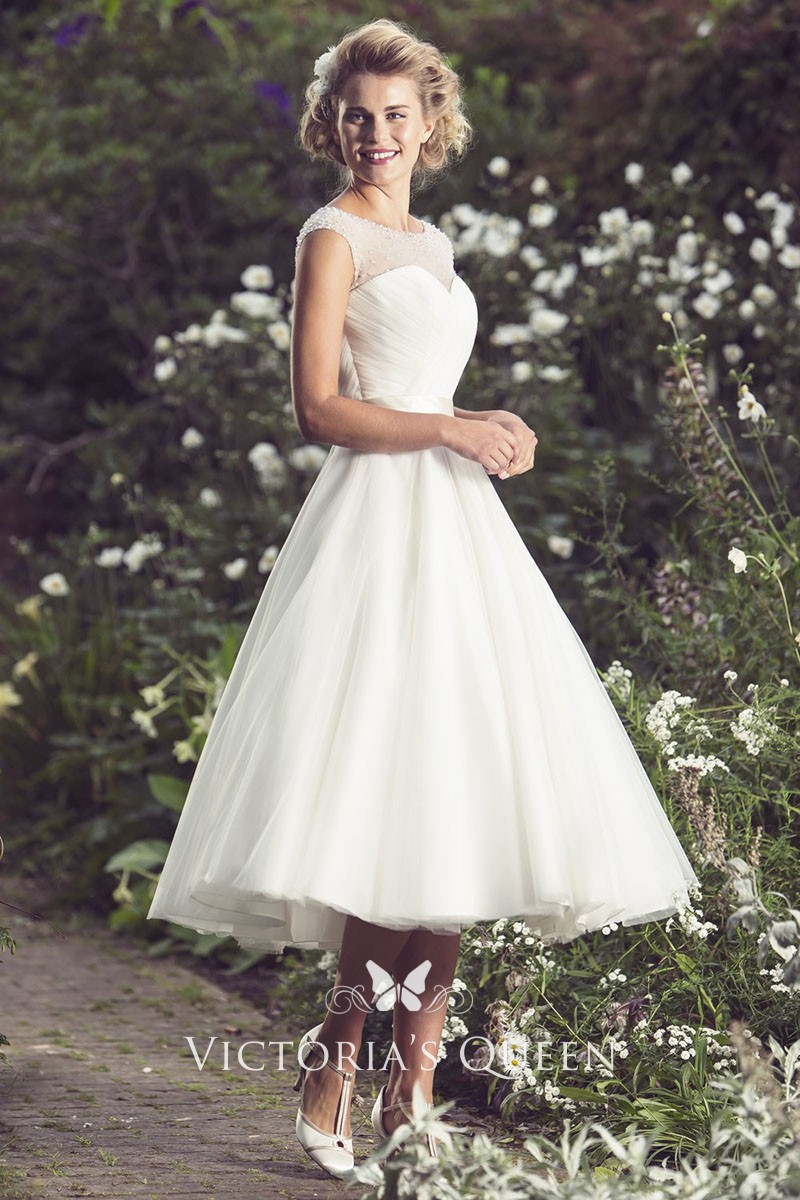Cap Sleeve Illusion Neck Ivory Organza Elegant Tea Length Wedding Dress: Tea Length Organza Wedding Dress At Websimilar.org