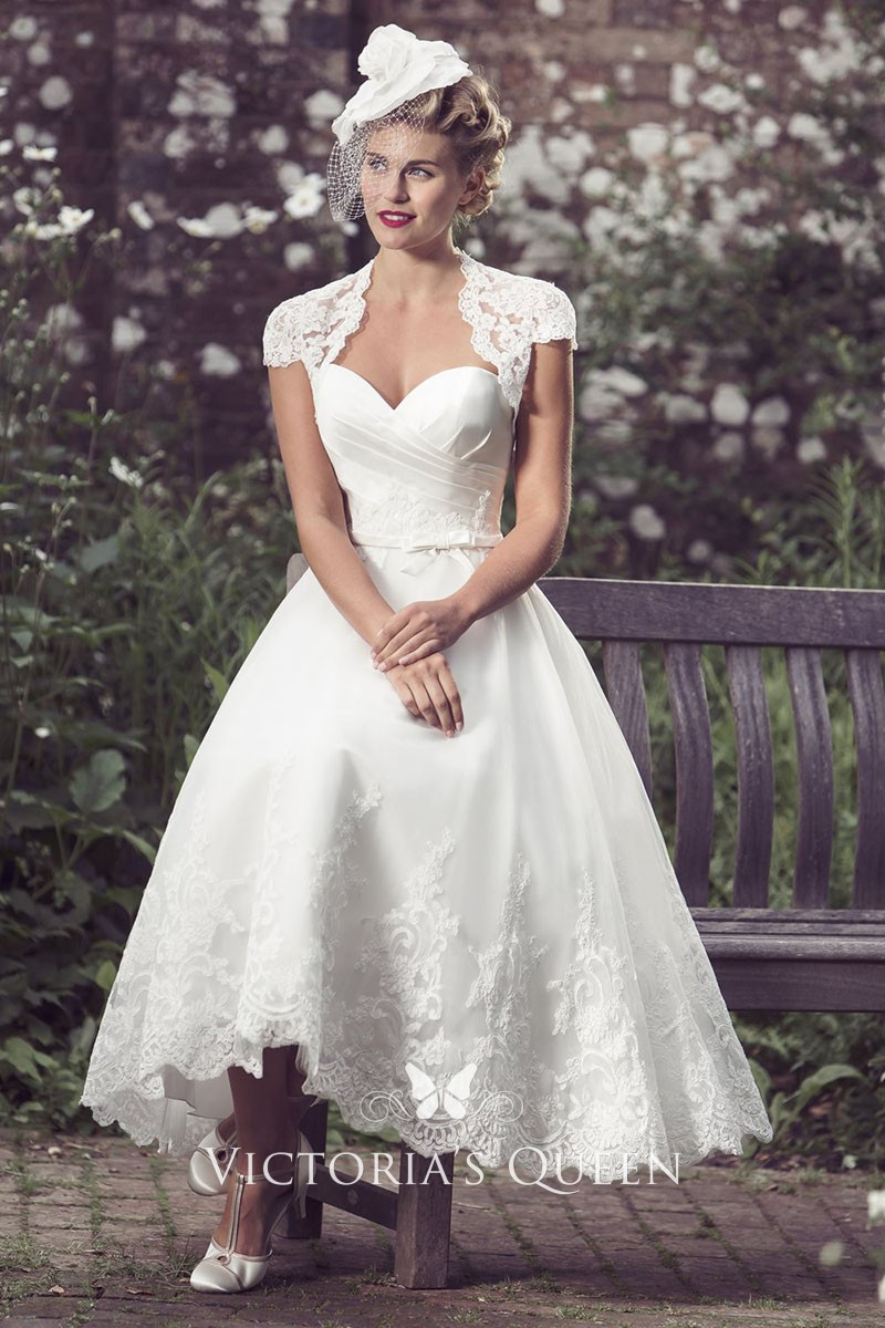 Tea Length Sweetheart Lace Jacket Wedding Dress