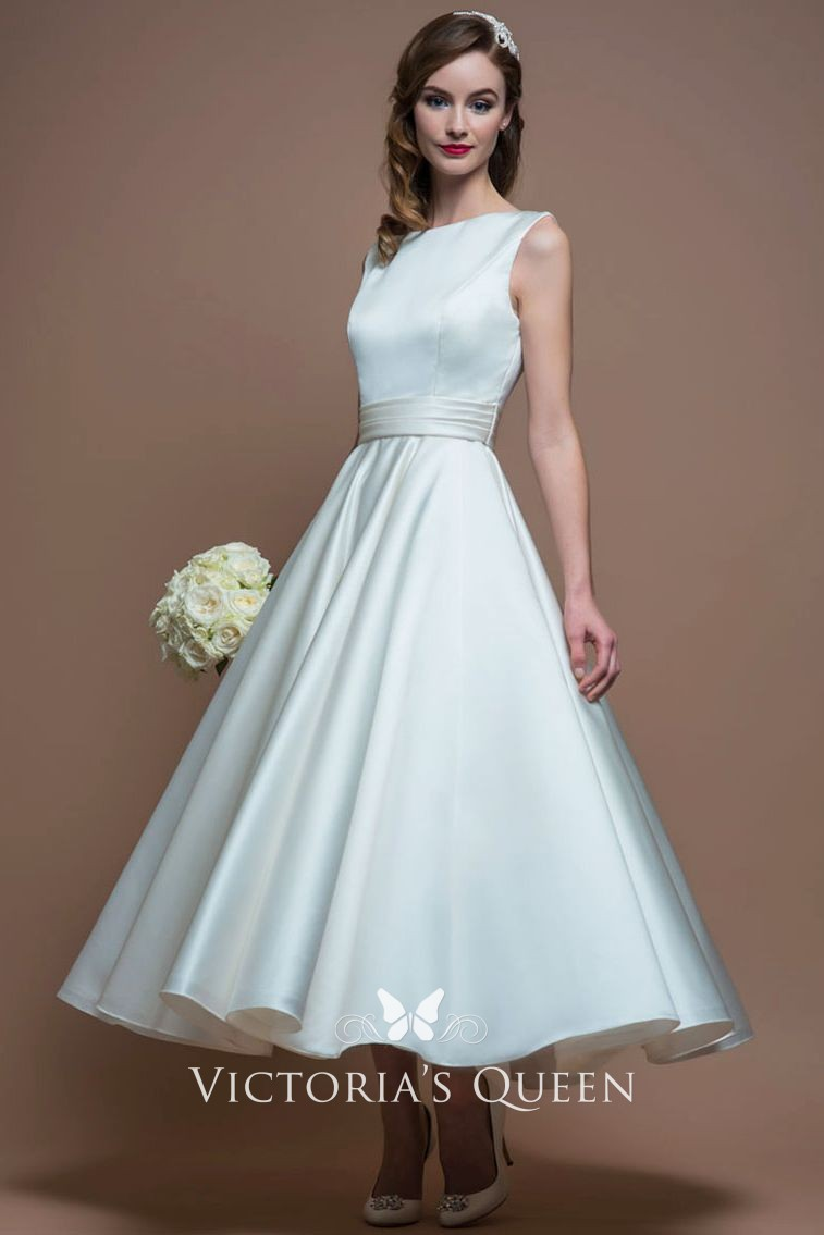 b3f419717be8 1950s vintage tea length A line bateau neck ivory satin sleeveless wedding  dress