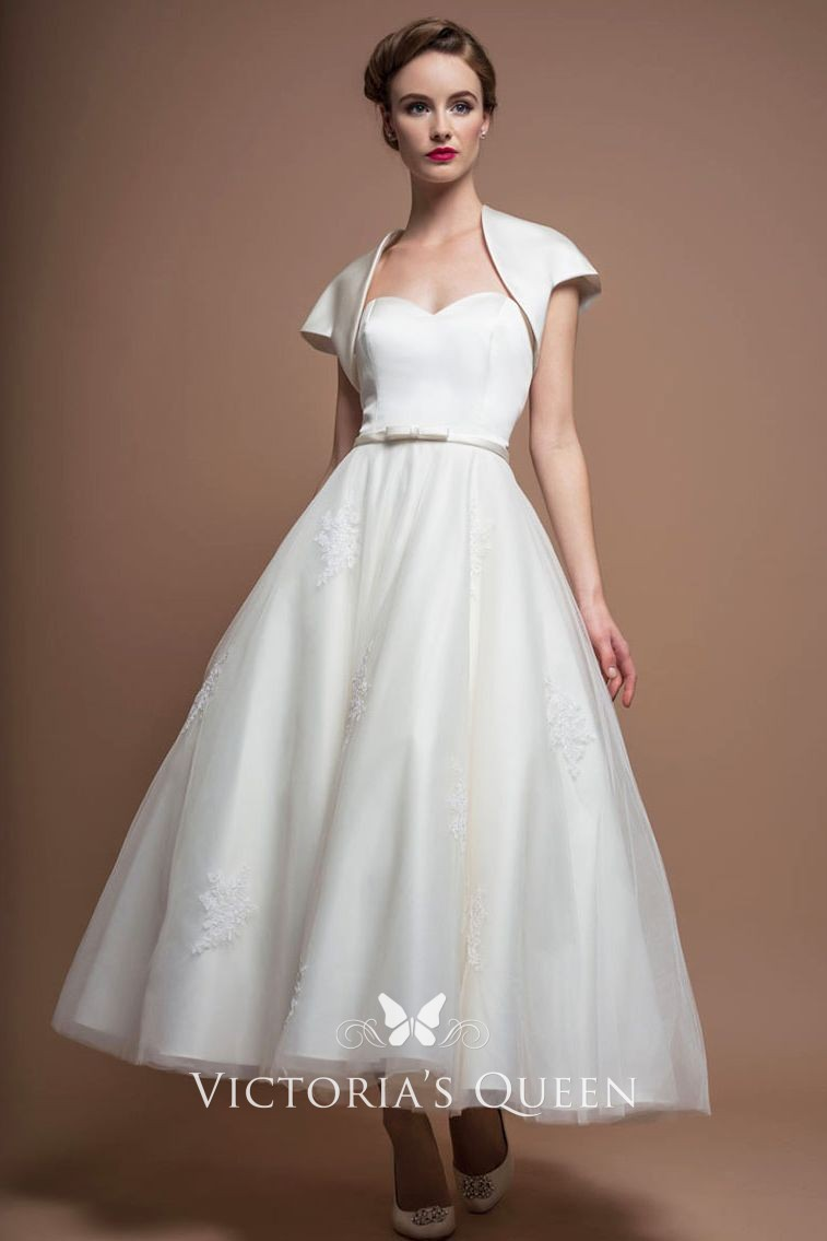 602ddeddf670 1960s vintage tea length A line wedding dress with cap sleeve bridal jacket