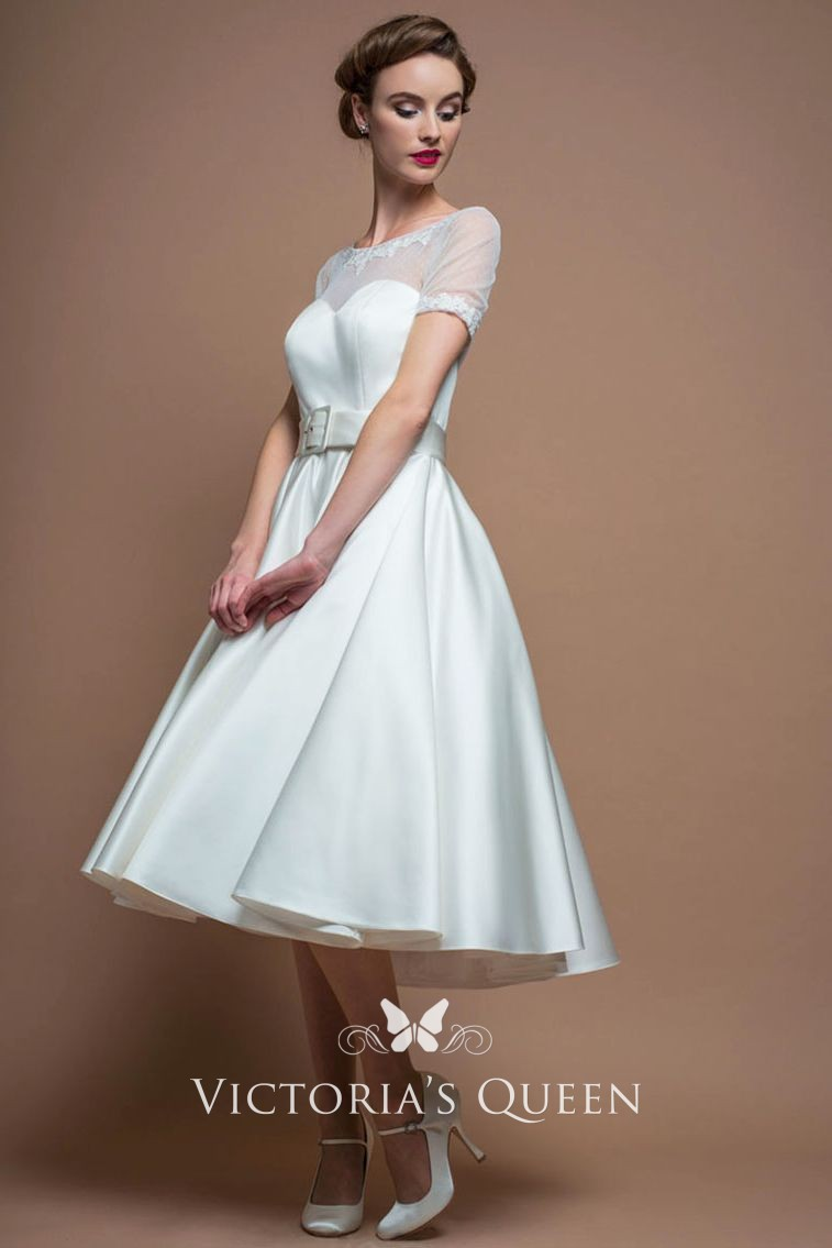 f1e079521bd5 1950s inspired vintage illusion sheer short sleeve ivory satin tea length  wedding dress