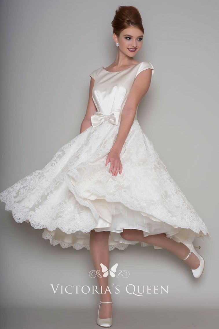 Cute A Line Knee Length Cap Sleeve Short Wedding Dress