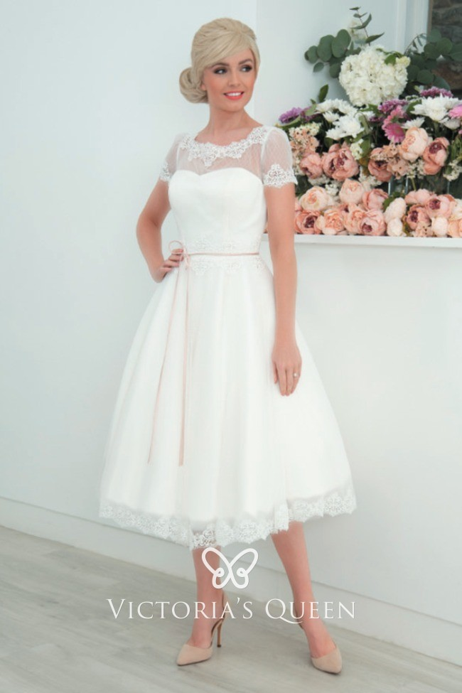 3afc7234e01 Beautiful Ivory Antique Tulle and Lace Illusion Neckline Tea-length Wedding  Dress