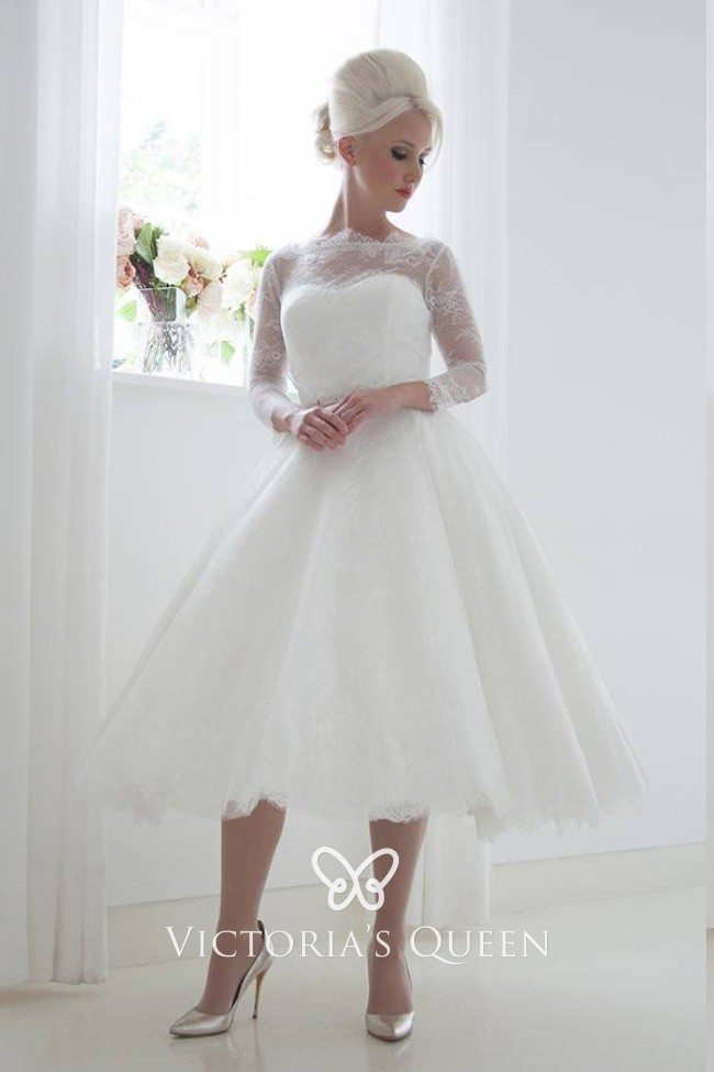 Beautifully Soft Lace Tea Length Illusion Wedding Dress