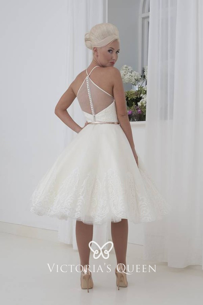 Ivory Lace And Tulle Short Cute Halter Wedding Dress