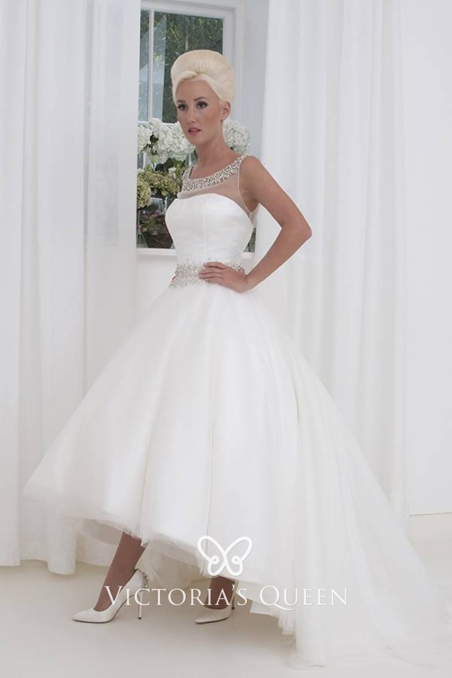 High Low Wedding Dresses.Sophisticated White Tulle Beaded High Low Wedding Dress