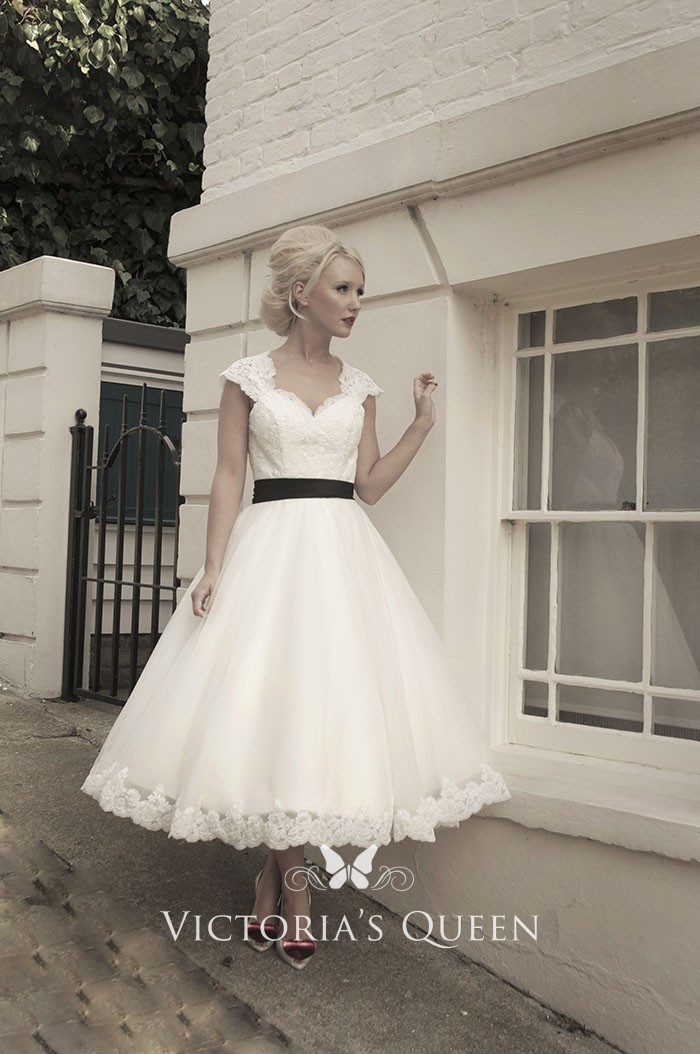 Tea Length Lace Cap Sleeve Keyhole Bridal Wedding Dress