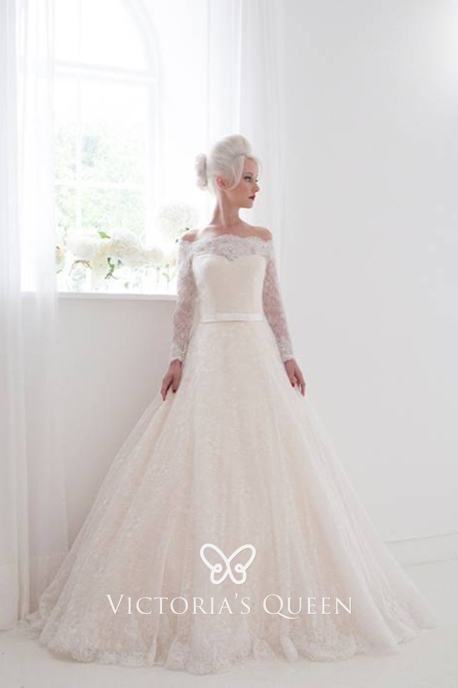 Off The Shoulder Blush Lace Sleeved Wedding Ballgown