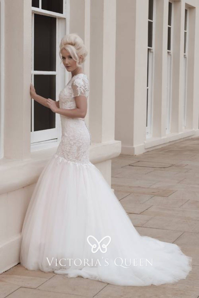 Feminine And Fairy Tale Ivory Tulle Fishtail Wedding Dress With Intricate Lace Detail