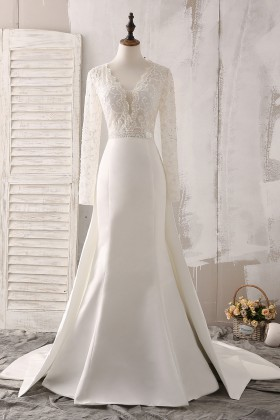 9be8d7e9af Ivory Lace Scalloped Beaded V Neckline Illusion Long Sleeve Classic Wedding  Dress