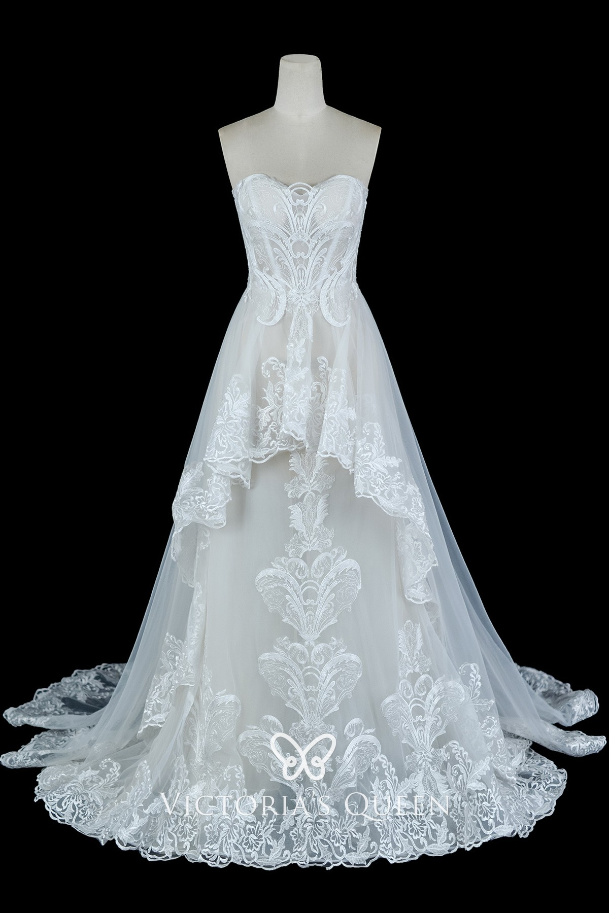 Lace And Tulle Wedding Dress With High Low Overskirt Vq