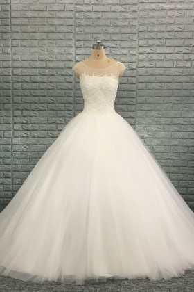 Pearl Beaded Floral Lace Tulle Ivory Bridal Ball Gown Vq,Sky Blue Dresses For A Wedding